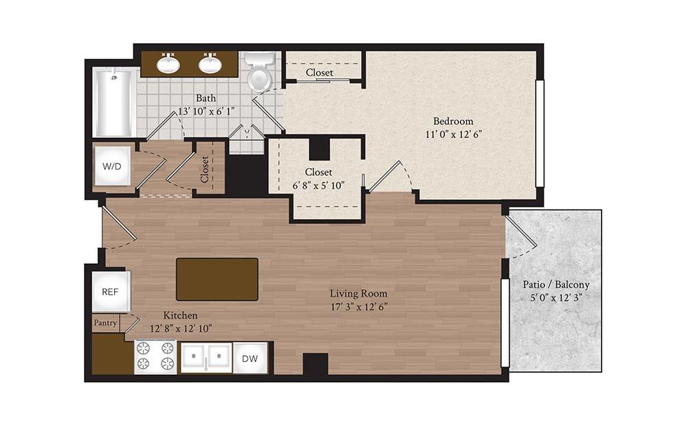 A1-A2 1 Bed 1 Bath Floorplan