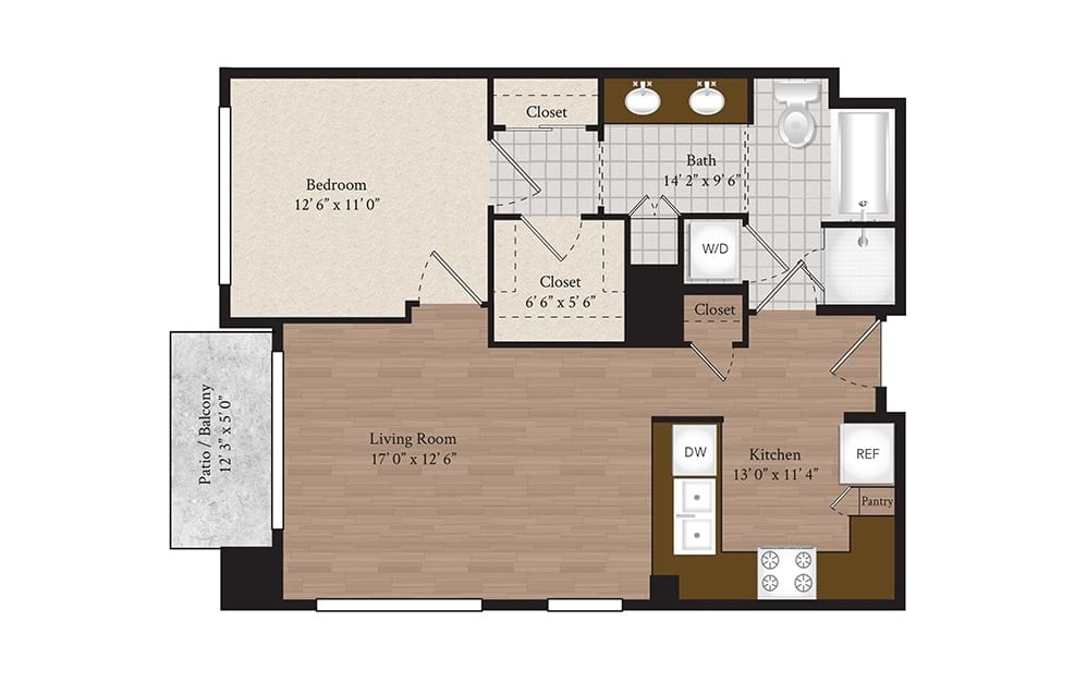 A1-B 1 Bed 1 Bath Floorplan