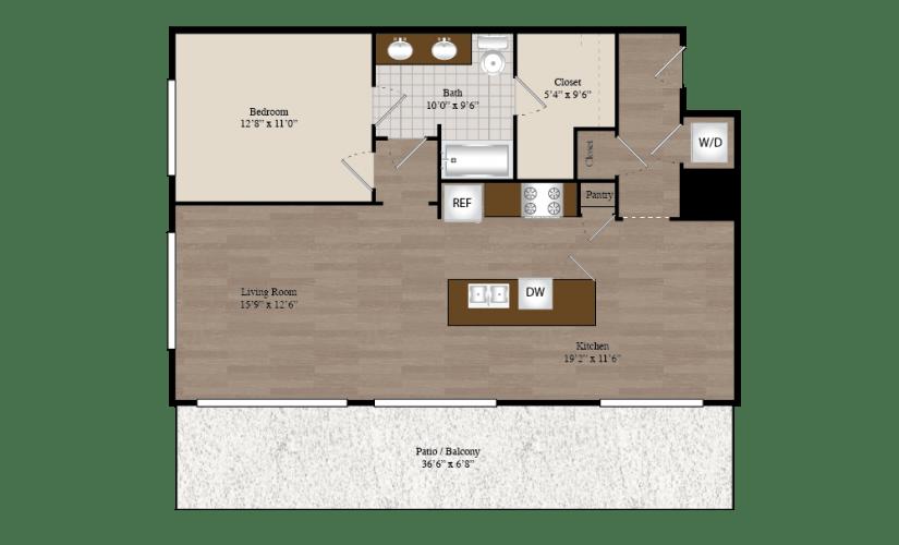 A10 1 Bed 1 Bath Floorplan