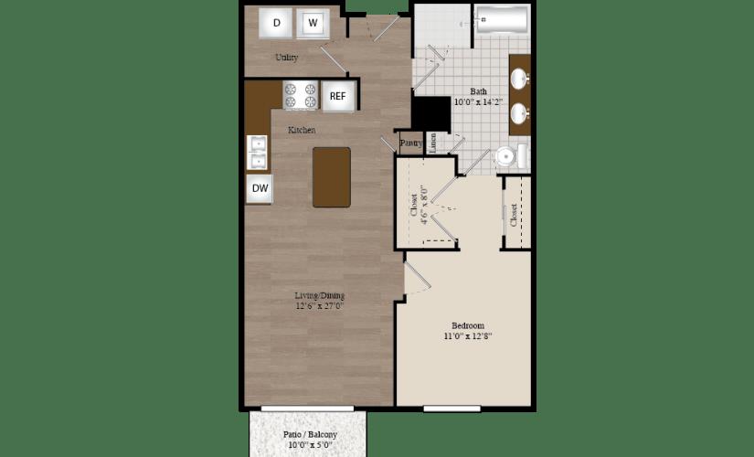 A11 1 Bed 1 Bath Floorplan
