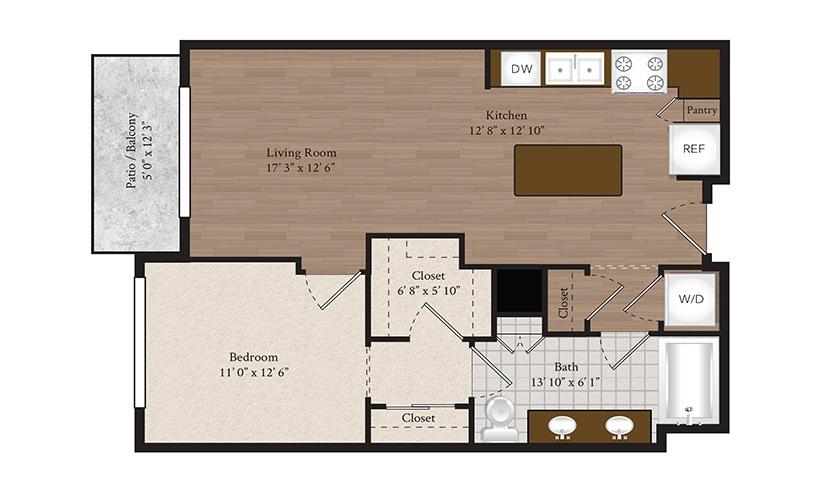 A1-A 1 Bed 1 Bath Floorplan