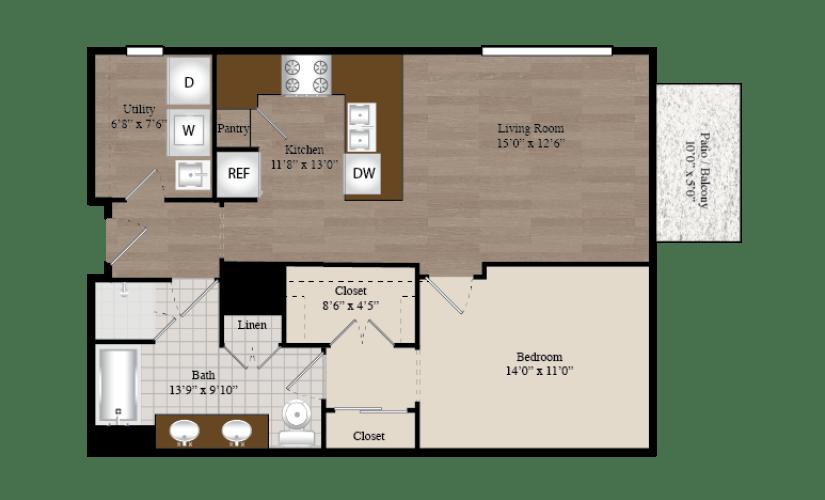 A4 1 Bed 1 Bath Floorplan