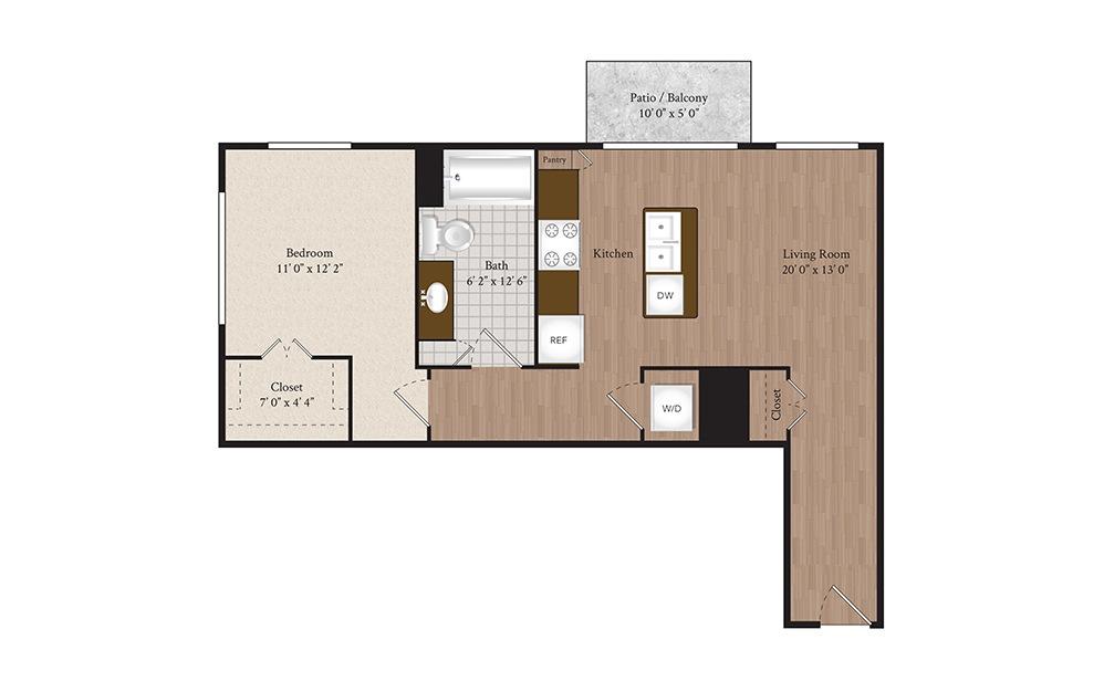A7 1 Bed 1 Bath Floorplan