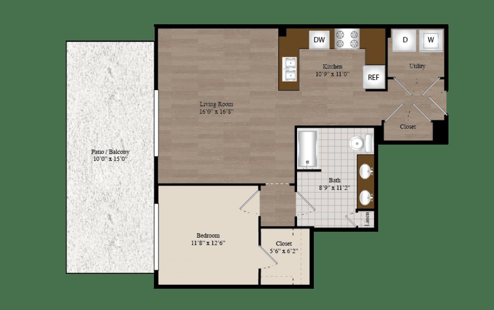 A9 1 Bed 1 Bath Floorplan
