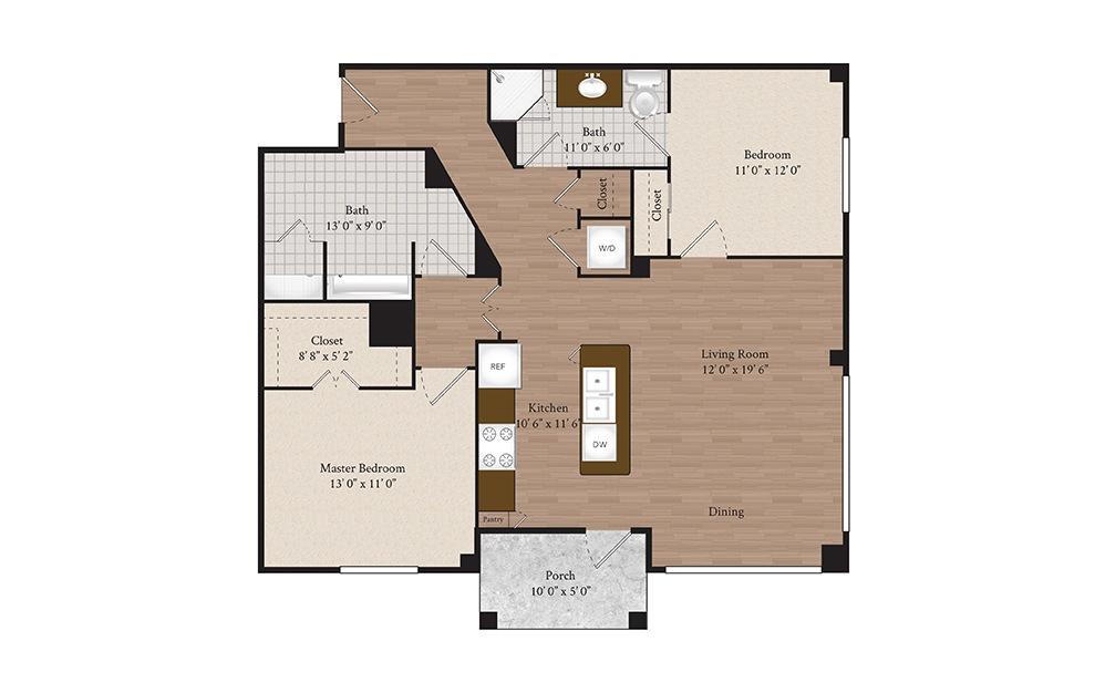 B1-1 2 Bed 2 Bath Floorplan