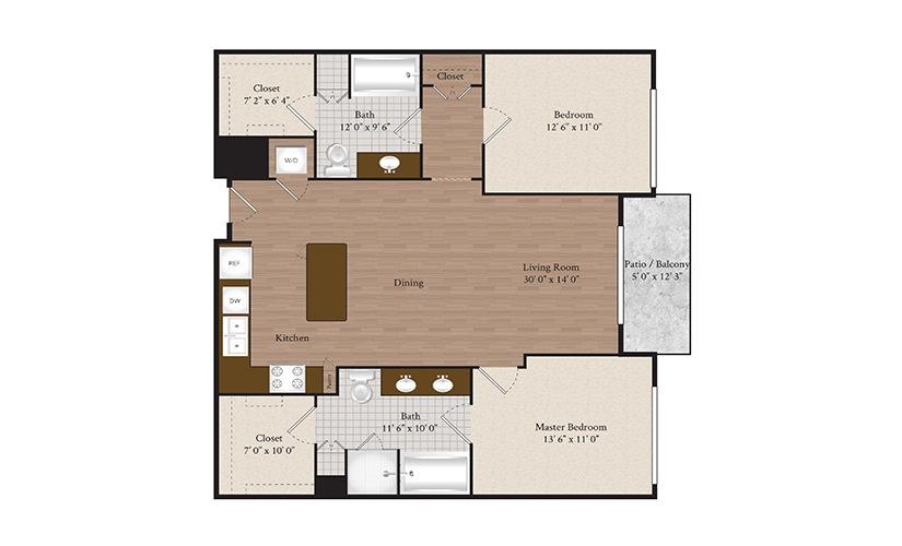 B10 2 Bed 2 Bath Floorplan