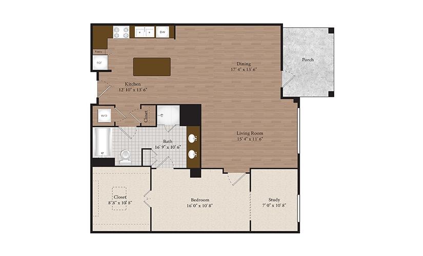 B6 1 Bed 1 Bath Floorplan