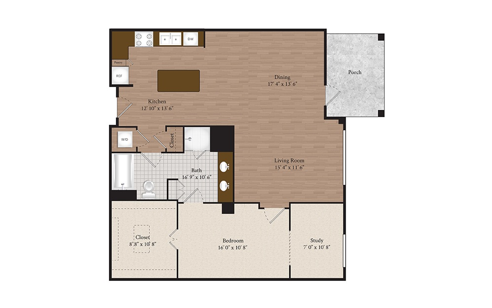 B6 1 Bed 1 Bath Floorplan