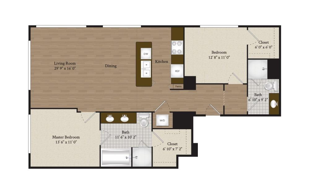 B7 2 bedroom 2 bath 1245 square feet