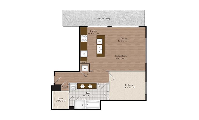 A12 1 Bed 1 Bath Floorplan