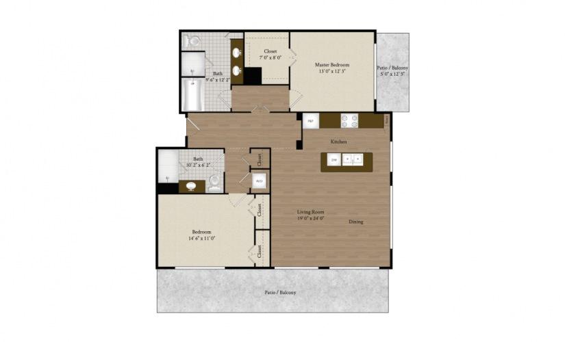 B9 2 bedroom 2 bath 1317 sq.ft.