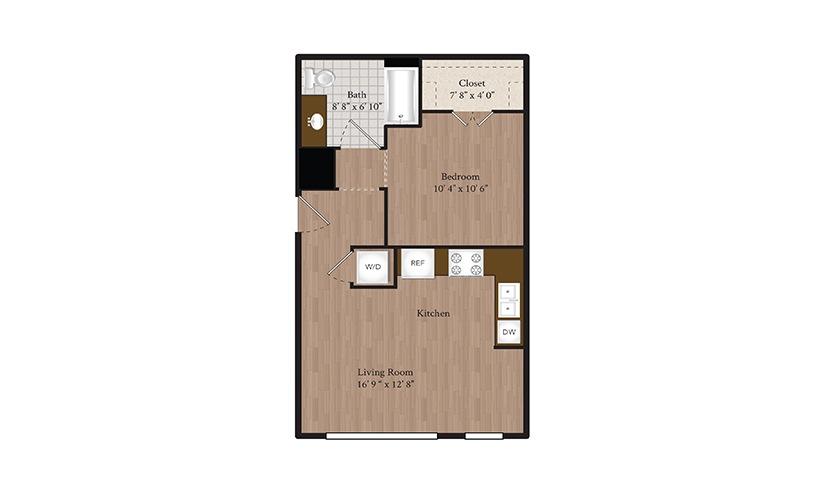 S1 Studio 1 Bath Floorplan