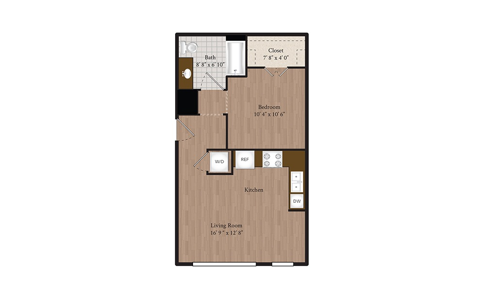 S1 Studio 1 Bath Floorplan