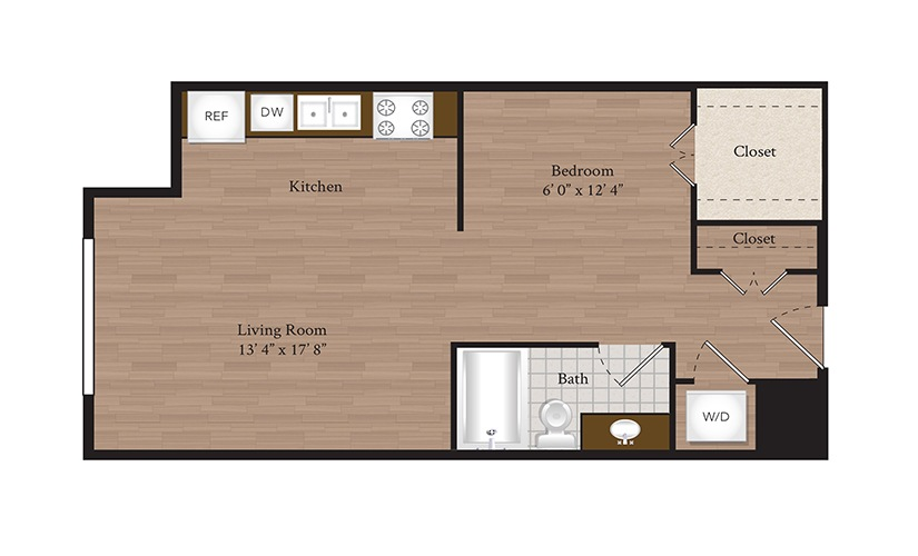 S3 Studio 1 Bath Floorplan